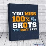 Teen Boy Gift – Motivational Quotes on Canvas – Hustle Art – Office Wall Art – Brother Gift from Sister – You miss 100% of the shots